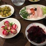 Taramosalata and olives with lemon