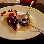 Dark Chocolate Torte with Berries and Creamy Topping