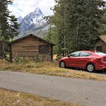 Back of our little cabin, whose front faced the Tetons directly.