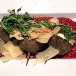 Meatball Trio (3 grilled meatballs, fresh mozzarella, red sauce, shaved parm, basil, breadcrumbs