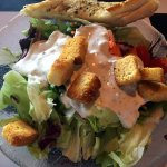 Side salad with bleu cheese and Italian bread