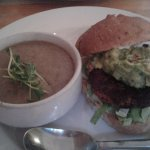 Sweet potato and black bean burger with a side of homemade soup