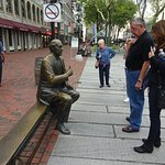 Talking to a local at Faneuil Hall Square--before the crowds arrive.