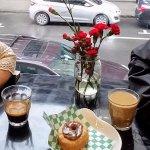 Espresso, croissant/donut with hazelnut spread, american coffee