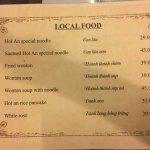 Food menu - Local Food