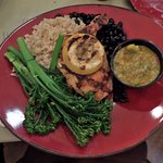 garlic chicken, brown rice, broccolini:  tasty!