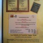 Les menus disponibles.