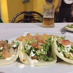 Spicy shrimp tacos and rice