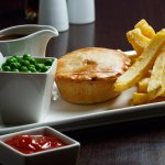 Pie and chips at Daniels Fish and Chips Broadstone