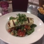 Roasted heirloom tomatoes with grilled halloumi and salads