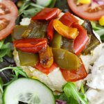 Houmous and roasted peppers