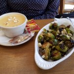 Beer cheese soup and brussels sprouts