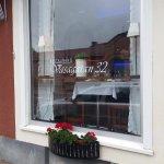 restaurant front window - street side