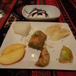 Beautifully presented desserts with some traditional Turkish ice cream