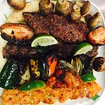Our famous family platter with a mushroom kabob added on.