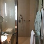 The large shower area, the tub is inside to the right