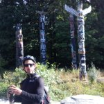 Paulo filling us in with details of the Totem Poles in Stanley Park