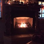 Gas fireplace in the Valhalla Suite.