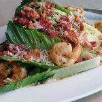 Grilled Caesar Salad with Prawns