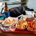 corn, lobstah roll, lobstah strips, sweet potato fries YUMMMMMMM