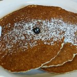 Blueberry pancakes, really good, blueberries in the batter!