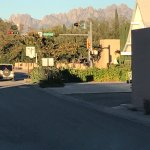 view of Organ Mountains from parking lot