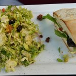 salad and portabella sandwich