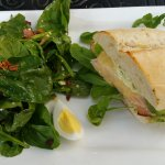 spinach salad and turkey/havarti
