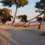 Beach across bike path