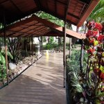 Nice tropical gardens border covered walkways