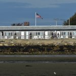 View of the back of the hotel at low tide