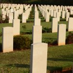 White headstones of Allied soldiers who died in World War II.