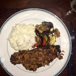 Filet mignon, homemade mashed potatoes and grilled vegetables