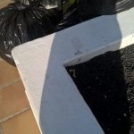 Fag ends dumped in planter