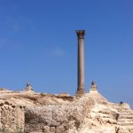 The Pillar of Pompey with Sphinx at guard