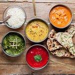 Butter chicken, Tikka masala, Korma, Daal