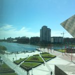 View of the Liffey and Grand Canal Square from our room