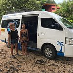 Happy clients boarding the morning shuttle from Tamarindo to Santa Teresa