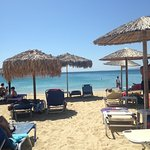 The beach is only a few yards from the hotel - turn right for peace and quiet, turn left for bus