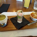 This was the starter for the afternoon tea. Thick veg soup. Prawn cocktail and Lasagne. A veggie