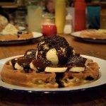 Chocolate and banana waffle