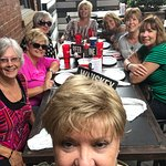 8 friends enjoying lunch before we head over to Wine Over Water.