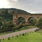Train bridge with Invershin Castle in the background