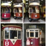 Very early vintage trams in one of the museum sheds.