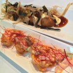Top: Takoyaki (grilled octopus balls), Bottom: Spicy shrimp tempura
