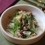 Pork belly and squid salad with mustard greens