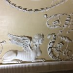 Plasterwork detail of a sphinx from the newly cleaned ceiling