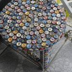 Cute bottle cap table in the waiting area.