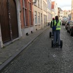 Riding the Segway through the streets of Bruges