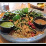 My vegie 3-choice salad. A spinach, couscous and something else with homemade dressings, if I re